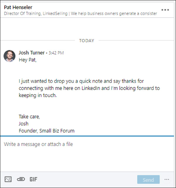 First message from 5 message sequence LinkedIn marketing strategy: thanks for connecting