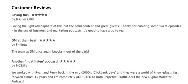 5-star reviews of The DigitalMarketer Podcast