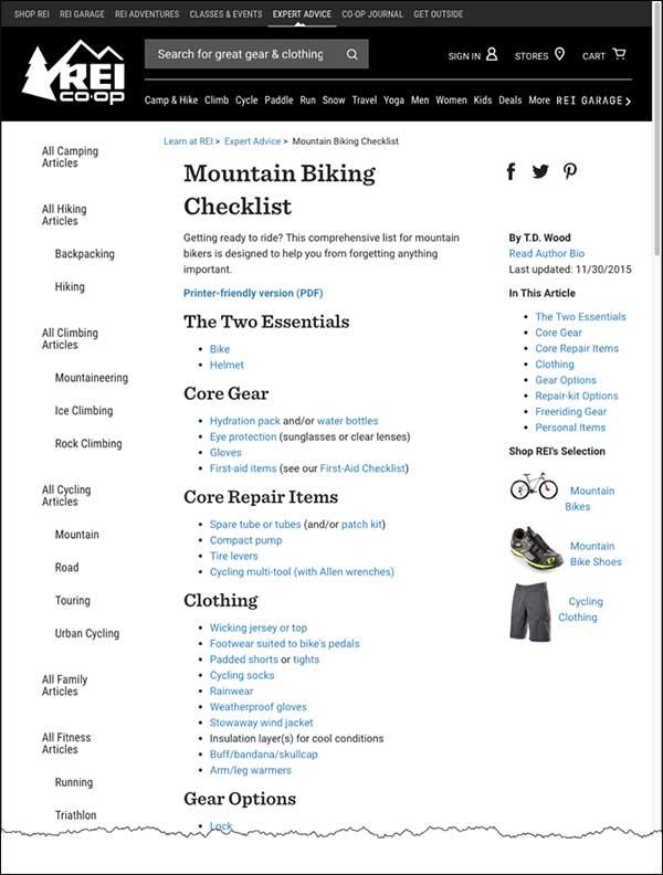 REI checklist