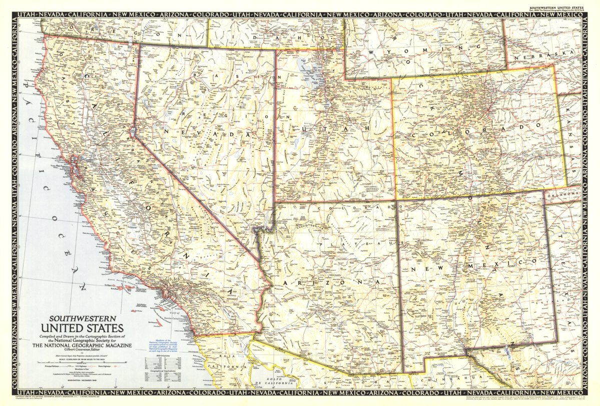 Do you know your flags, capital cities, and country outlines? Southwestern United States 1948 National Geographic Avenza Maps