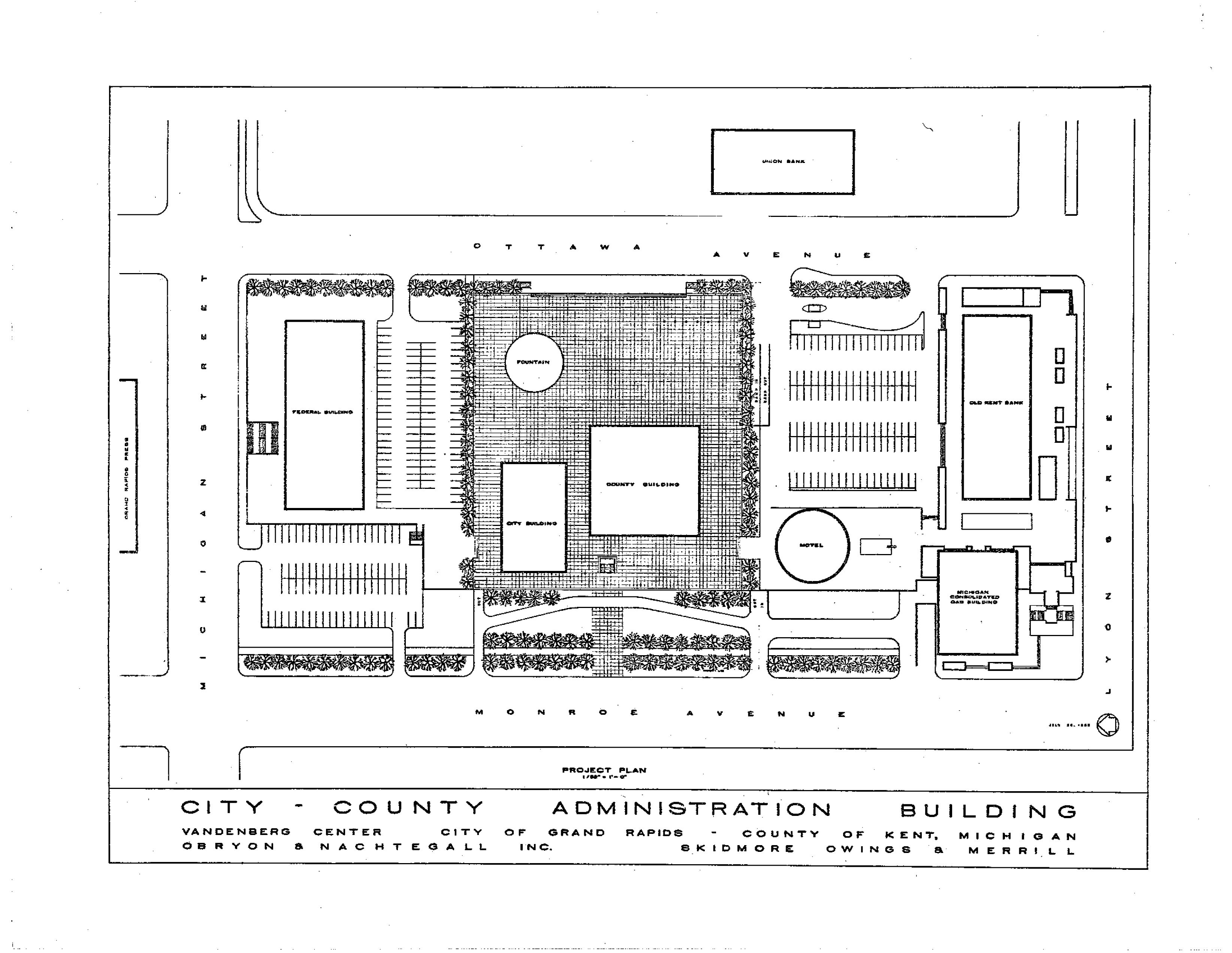 medium resolution of 1965 project plan of city county complex showing fountain feature