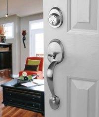 Satin Nickel Front Door Entry Lock With Sierra Knob