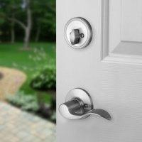Front Door Entry Set Lock Satin Nickel Lever LH   eBay
