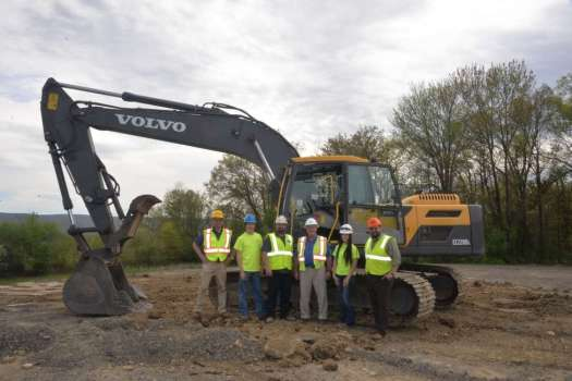 (L-R): Ryan Flood, vice president of Highway Equipment & Supply; Tyler Breon, student at Pennsylvania College of Technology; Ryan Peck, operator training program instructor at Pennsylvania College of Technology; Brian Hoffman, account representative at Highway Equipment & Supply; Makenzie Witmer, student; and Justin Beishline, assistant dean of the School of Transportation & Natural Resources Technologies at Pennsylvania College of Technology.