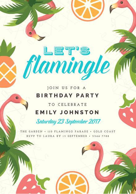 let s flamingle tropical theme birthday