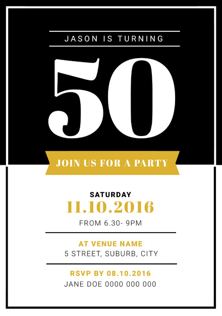 gold 50th birthday party invitation easil