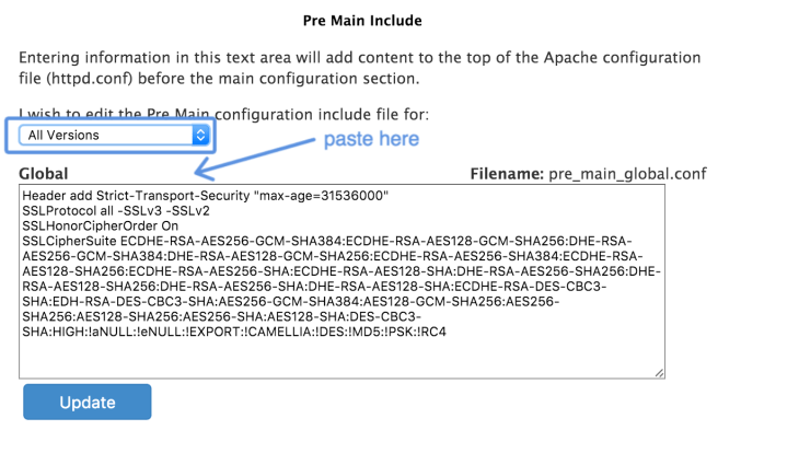 Getting an A+ for SSL in cPanel : Edit the Pre-Main Configuration Include File for : All Versions
