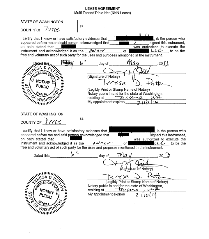 Washington State LLC, a person has signed a lease agreement