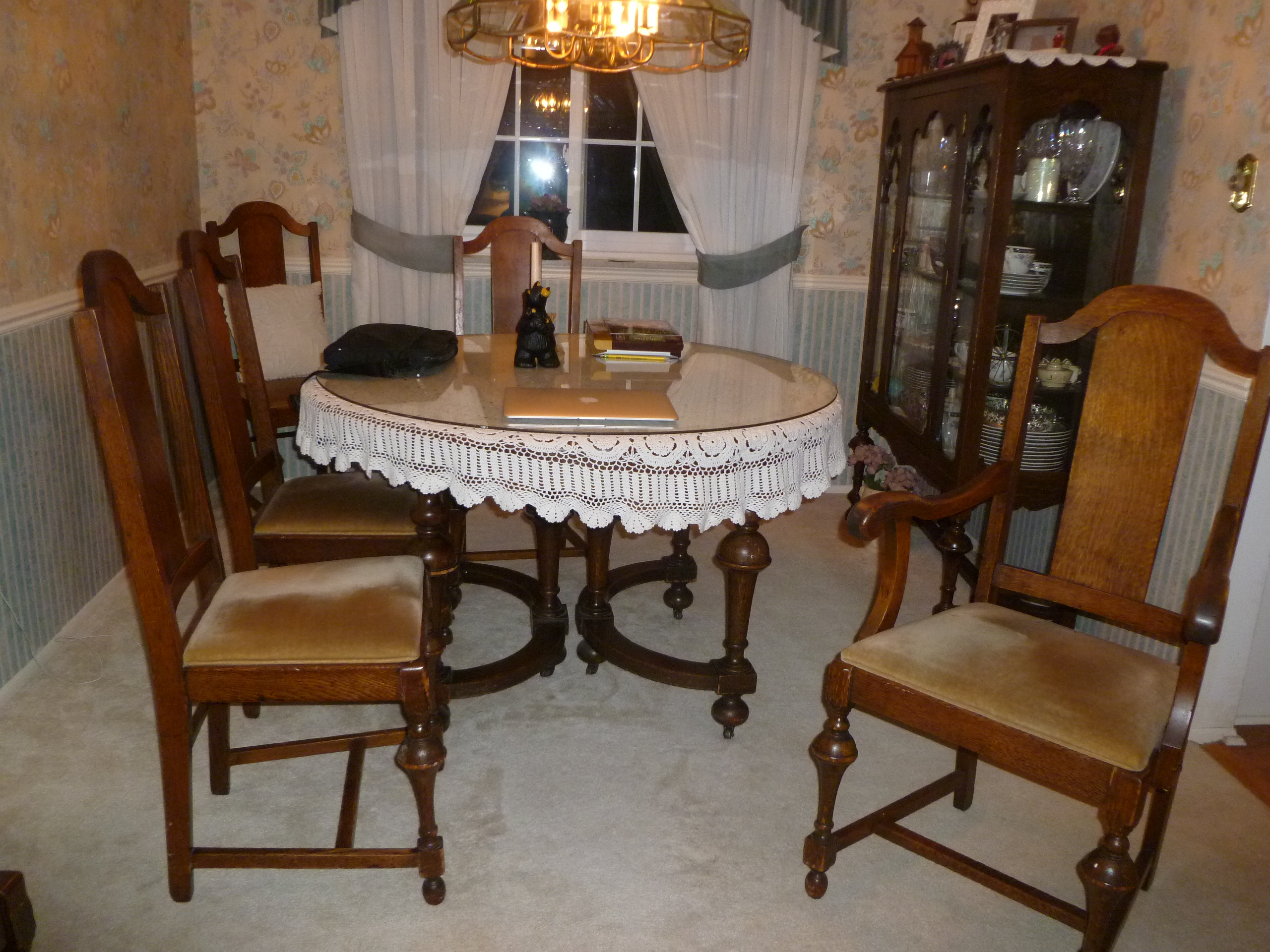 tiger oak dining chairs adirondack rocking lowes 1880s round set 6 hutch and china