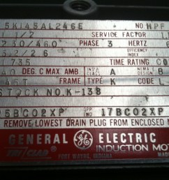 i purchased a ge motor on ebay and it has come with no wiring single phse electric motor nameplate electric motor nameplate marathon electric [ 1296 x 968 Pixel ]