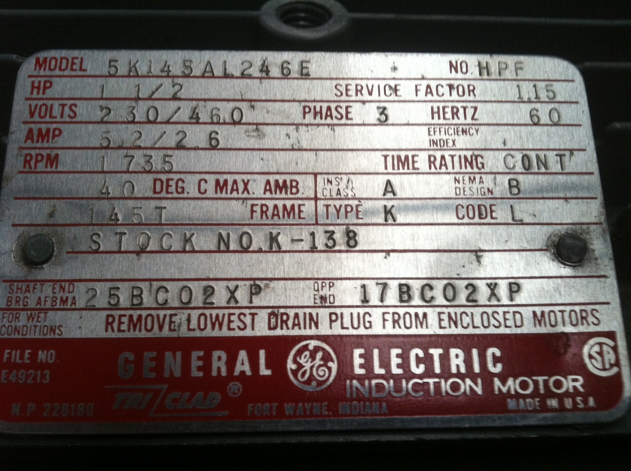 hight resolution of i purchased a ge motor on ebay and it has come with no wiring single phse electric motor nameplate electric motor nameplate marathon electric