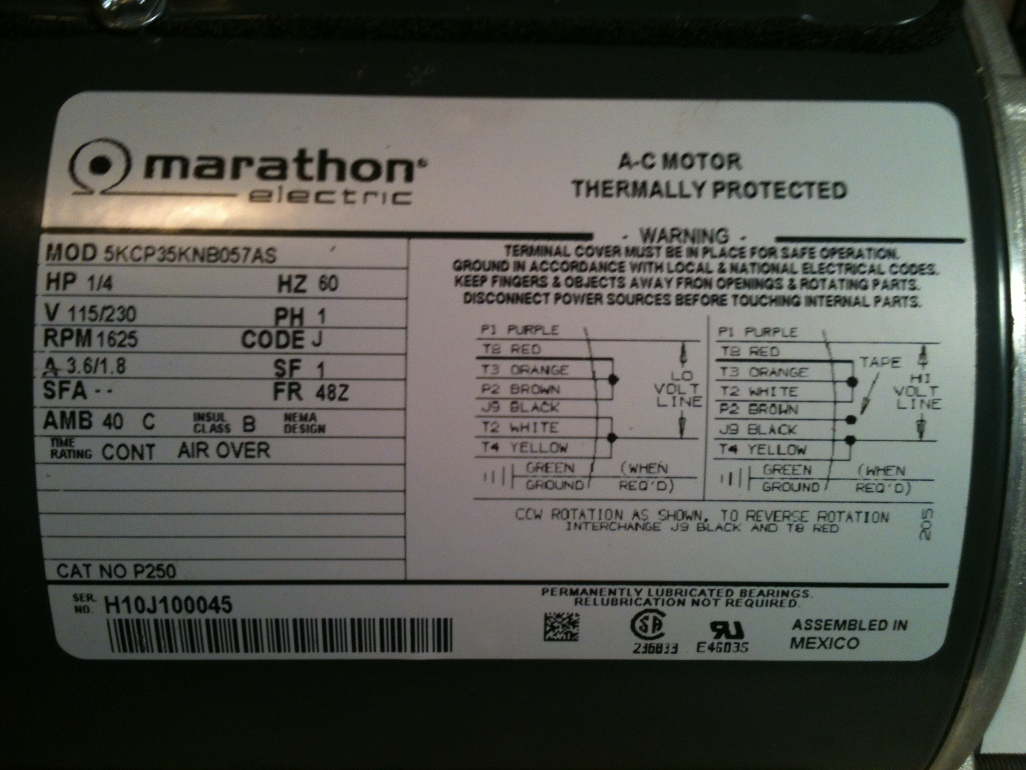 marathon ac motor wiring diagram tactile transducer hi, i just bought a electric motor, hp: 1/4 v 115/230