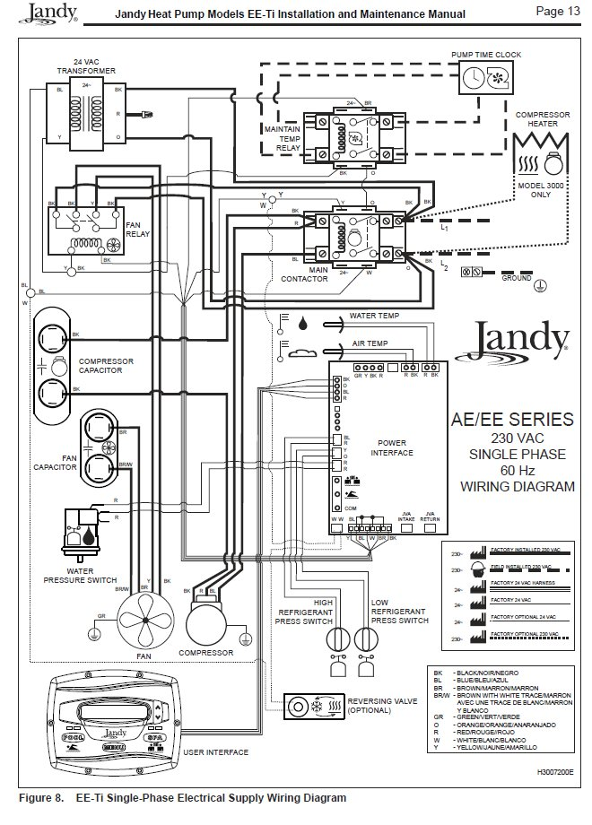 Jandy EE-TI 2500T-R Electrical Wiring for Single Phase Unit