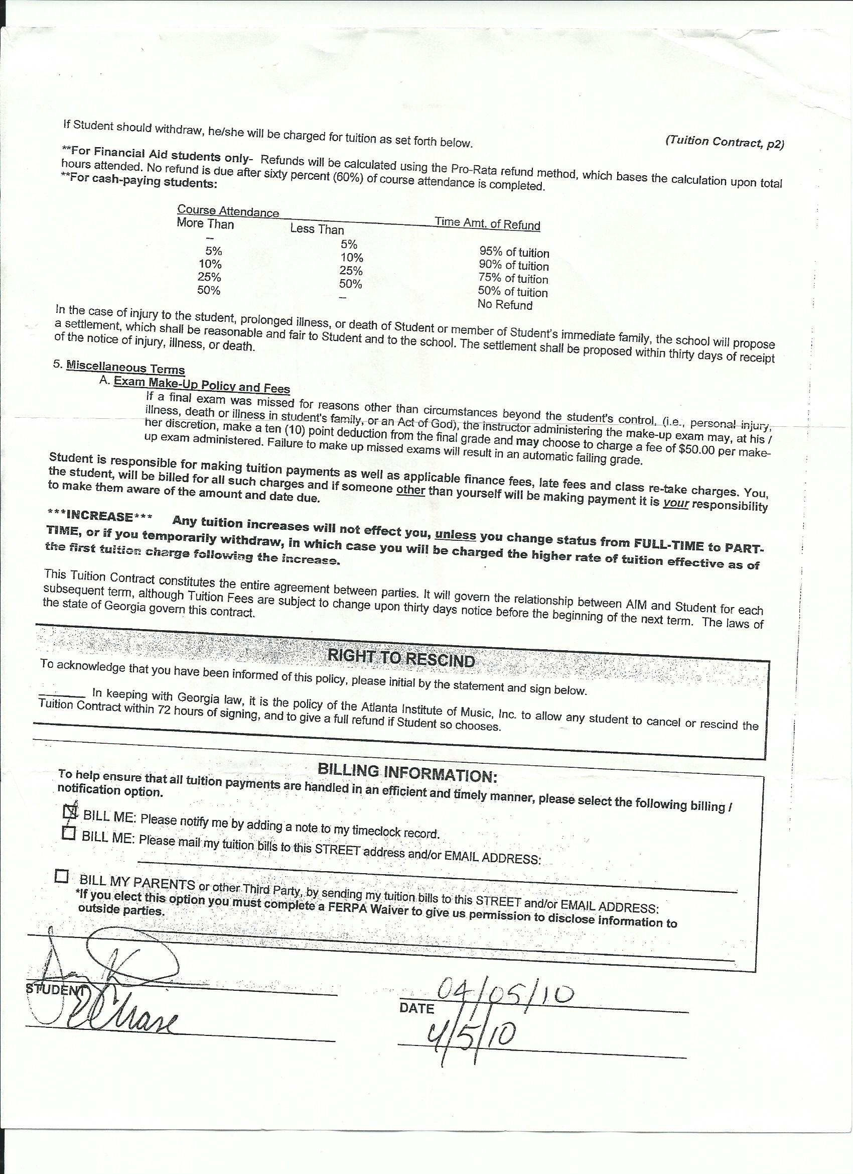17 yr old signed a contract for tuition guitar College