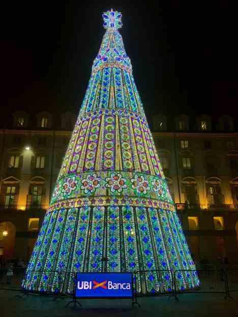 Turin Italy Piazza Castello Christmas Tree
