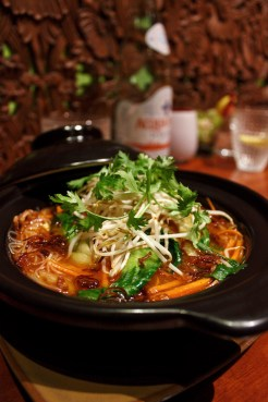 Chef Li prepared a delicious soup with vegetables and noodles