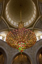 Huge chandeliers at Sheikh Zayed Grand Mosque in Abu Dhabi