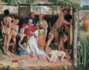 """""""A Converted British Family Sheltering a Christian Missionary from the Persecution of the Druids"""" by William Holam Hunt, 1850 [Ashmolean Museum, Oxford]"""