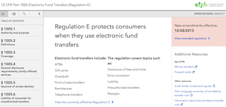 the consumer financial protection bureau unveiled its eregulations website yesterday as a means to consolidate regulations into a single easy to navigate