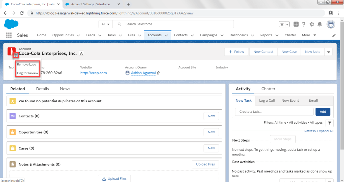 Remove or flag Account Logo in Salesforce