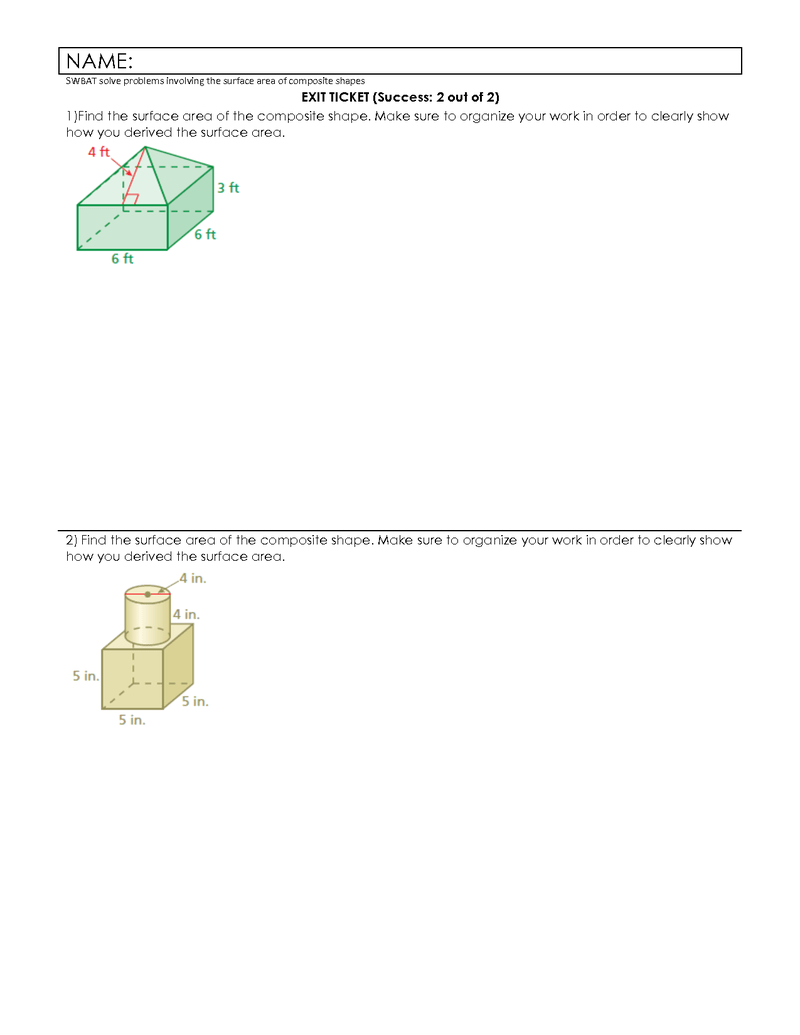 hight resolution of Seventh grade Lesson Surface Area of Composite Shapes