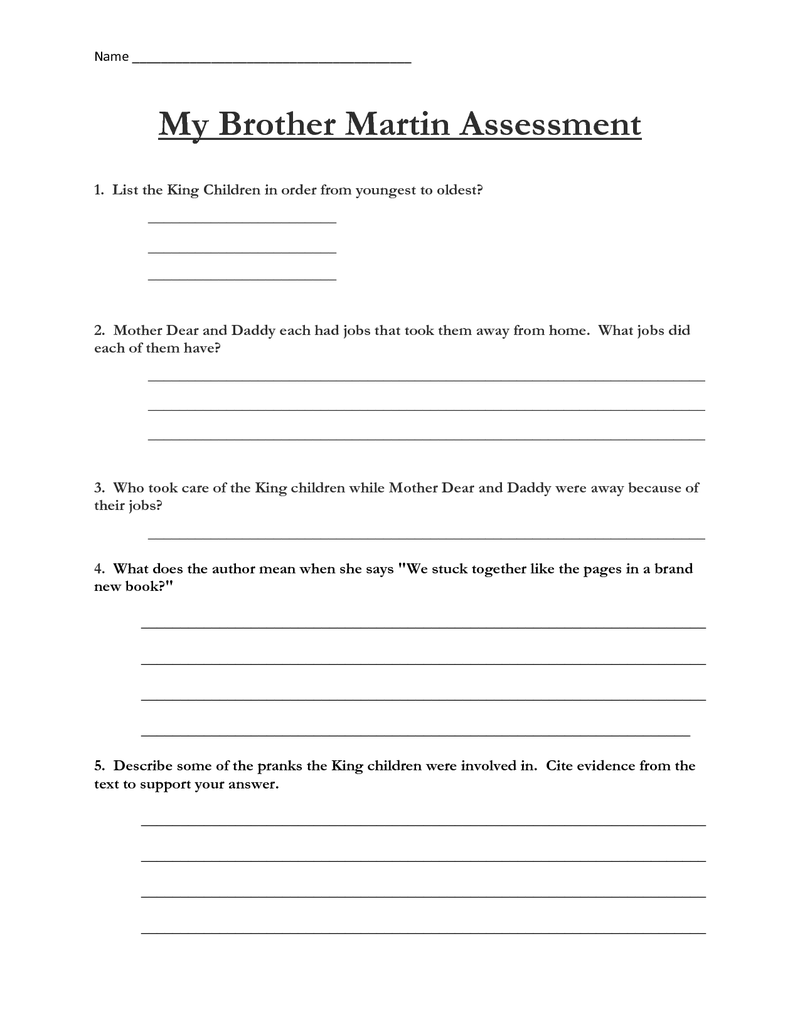 hight resolution of Fourth grade Lesson Close Read: My Brother Martin - Assessment