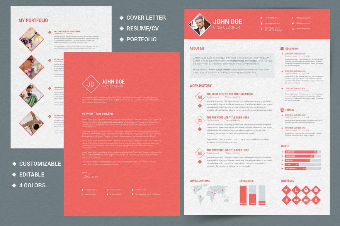 Diamond Resume CV 3 Piece Resume Resume Templates On