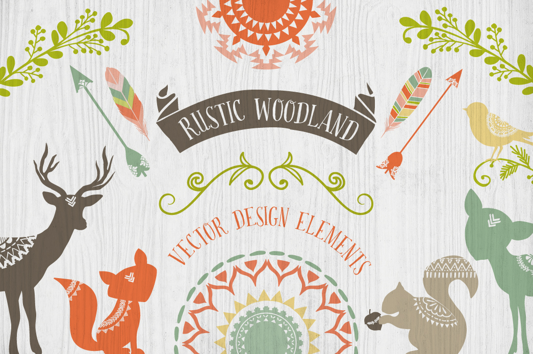 Rustic Woodland Design Elements  Illustrations on