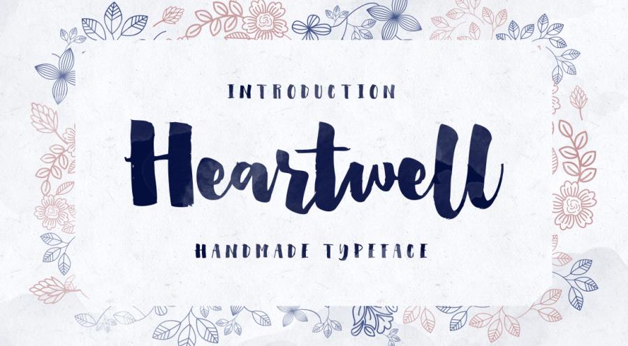 Heartwell modern brush lettering on Creative market