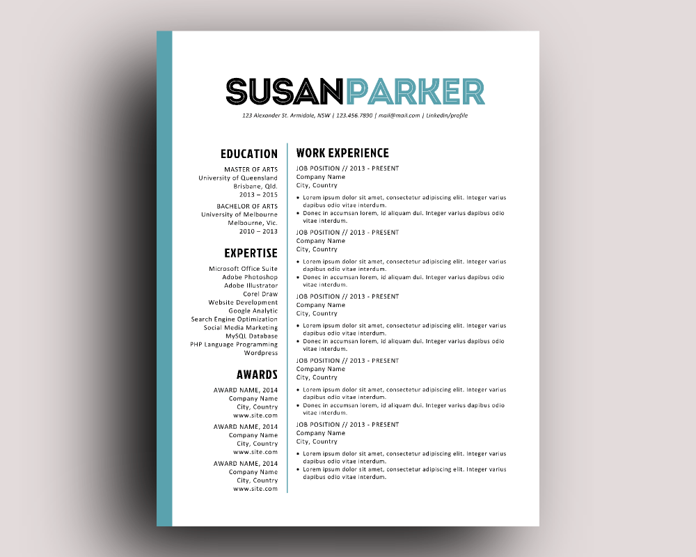 resume templates bold