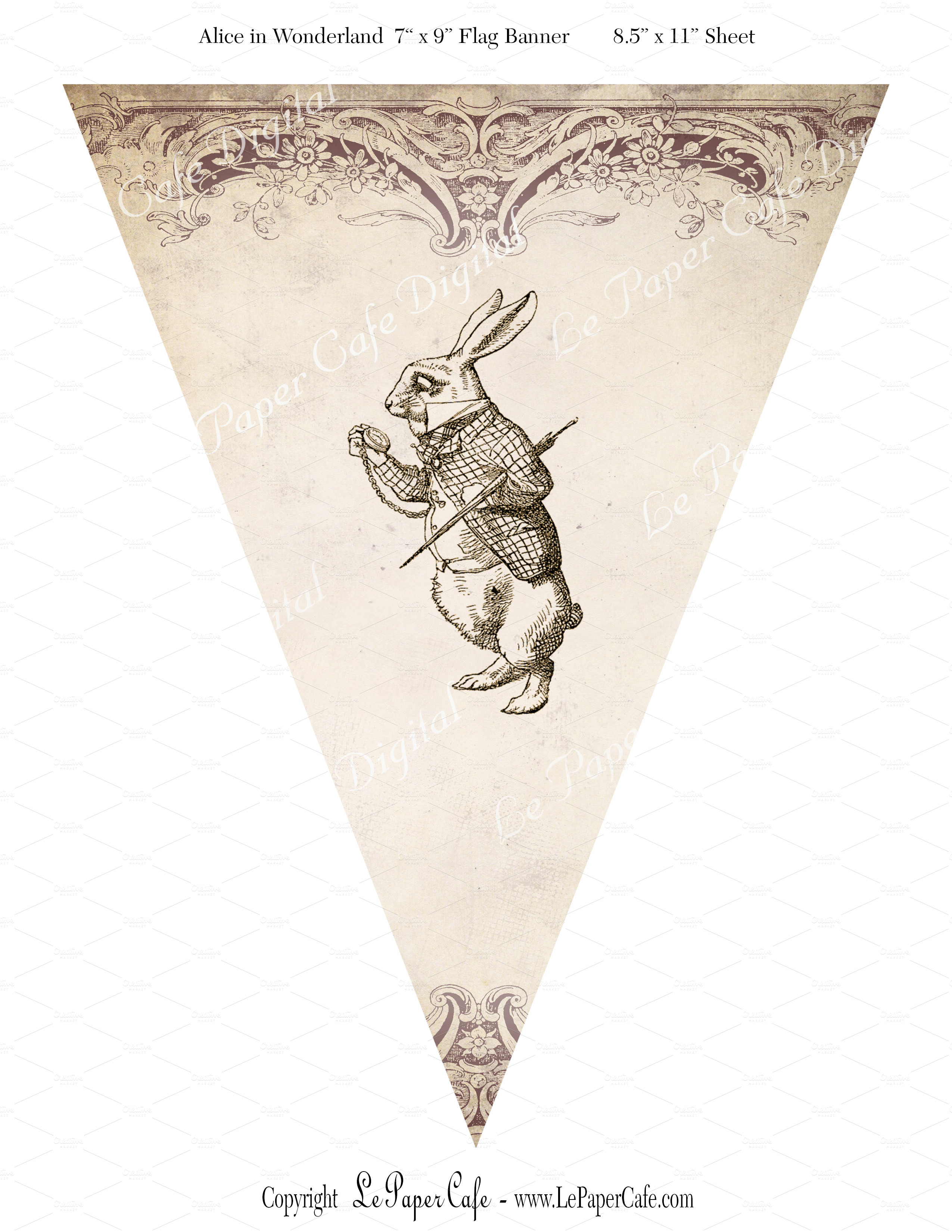 Alice in Wonderland Bunting Flags  Objects on Creative Market