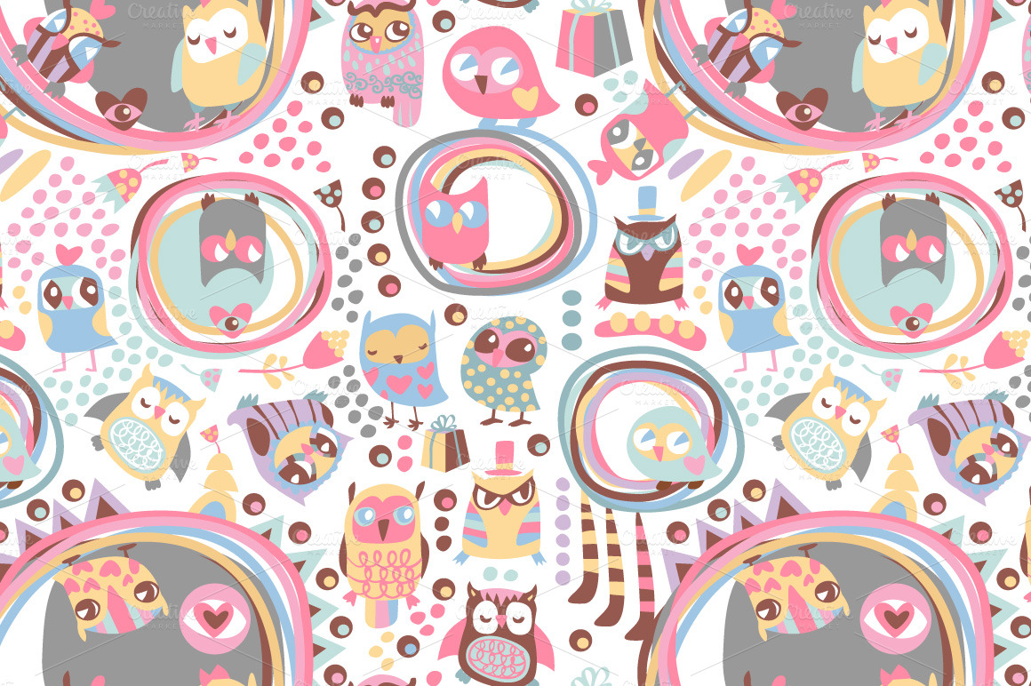 Cute Owl Wallpaper Border Cute Owls Seamless Background Patterns On Creative Market