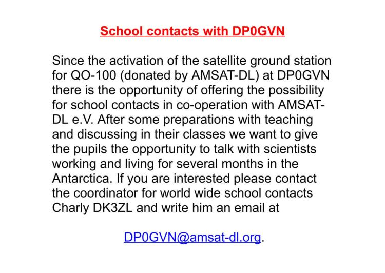DP0GVN School Contacts