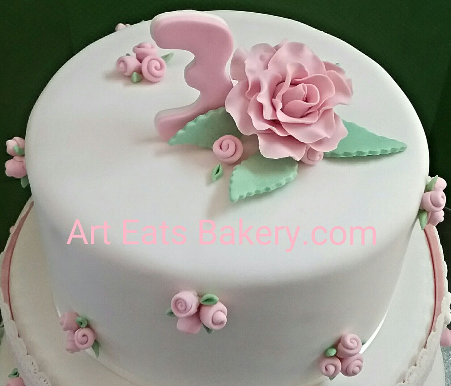 Three Tier Girls Custom Fondant 4th Birthday Cake With