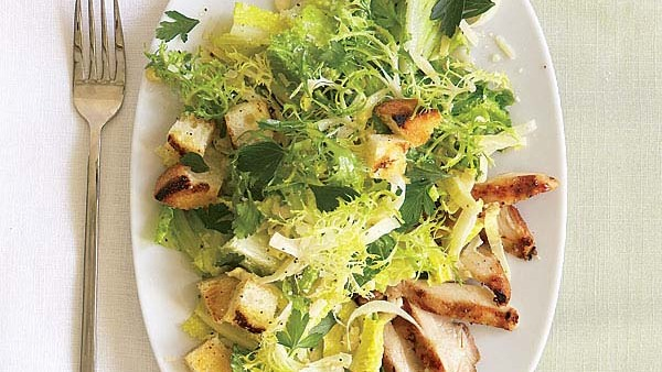 Grilled Chicken Caesar Salad with Garlic Croutons  Recipe