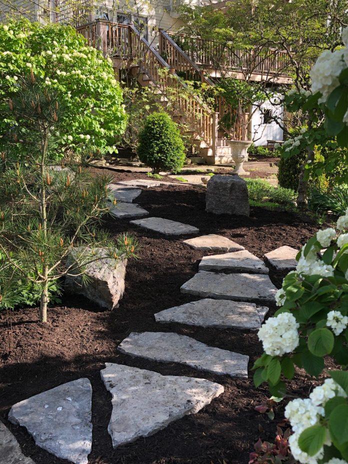 stepping stone path through a garden