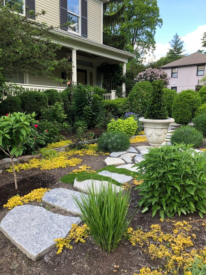 stone garden path in front yard