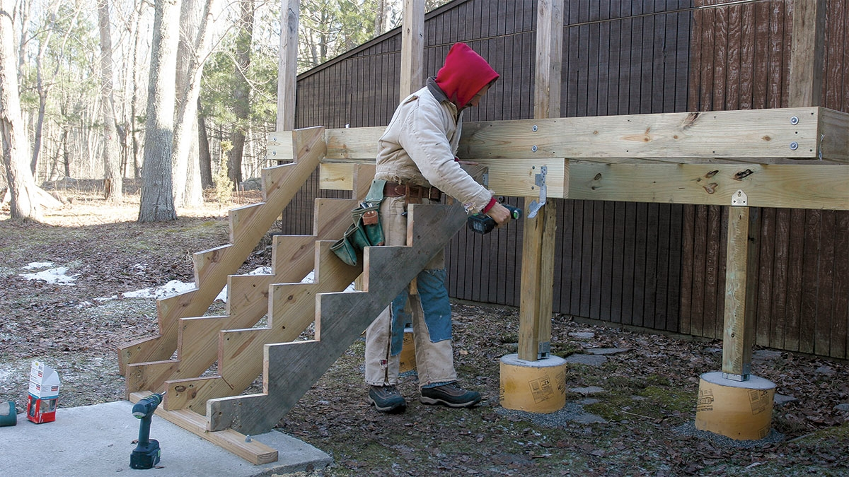 Tips For Mounting Deck Stairs Fine Homebuilding | Best Wood For Outdoor Stairs | Deck Railing | Stair Stringer | Handrail | Staircase | Railing
