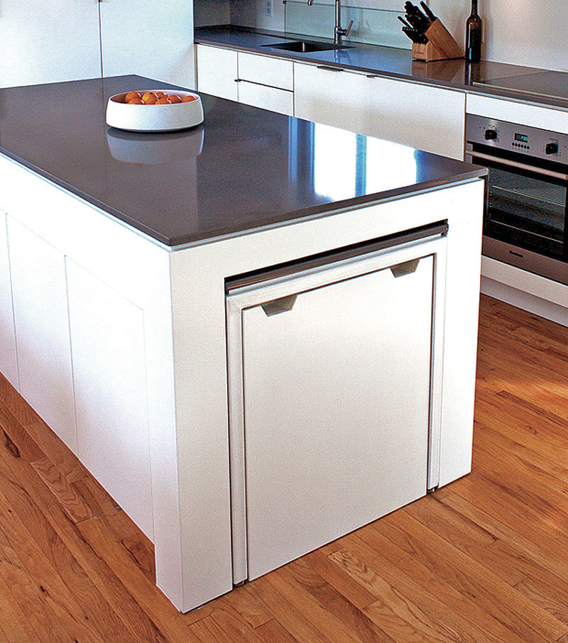 hideaway kitchen table cabinets st petersburg fine homebuilding of the steel frame and caesarstone top would make too heavy to slide in out but clients assure me that it works just