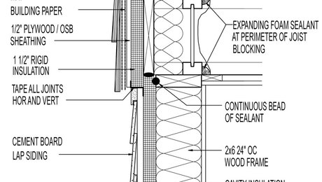 Vented siding section drawing: Cedar shingles above fiber