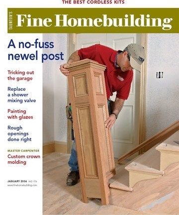 A No Fuss Newel Post Fine Homebuilding   Mission Style Newel Post   Craftsman Style   Maple   Stained Handrail   Stair Banister   Raised Panel