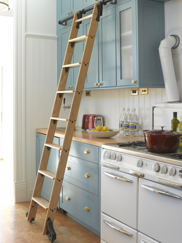kitchen ladder planning guide revitalized fine homebuilding having a removable library in is both playful and convenient with new cabinets flooring stove from the 1940s this my kind of