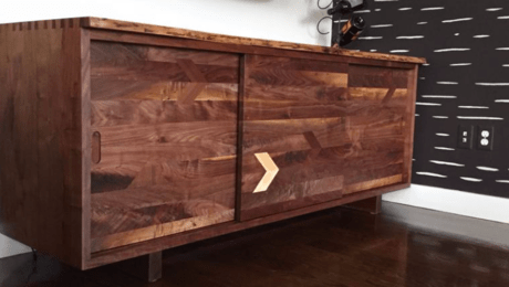 Live edge walnut record player cabinet media cabinet