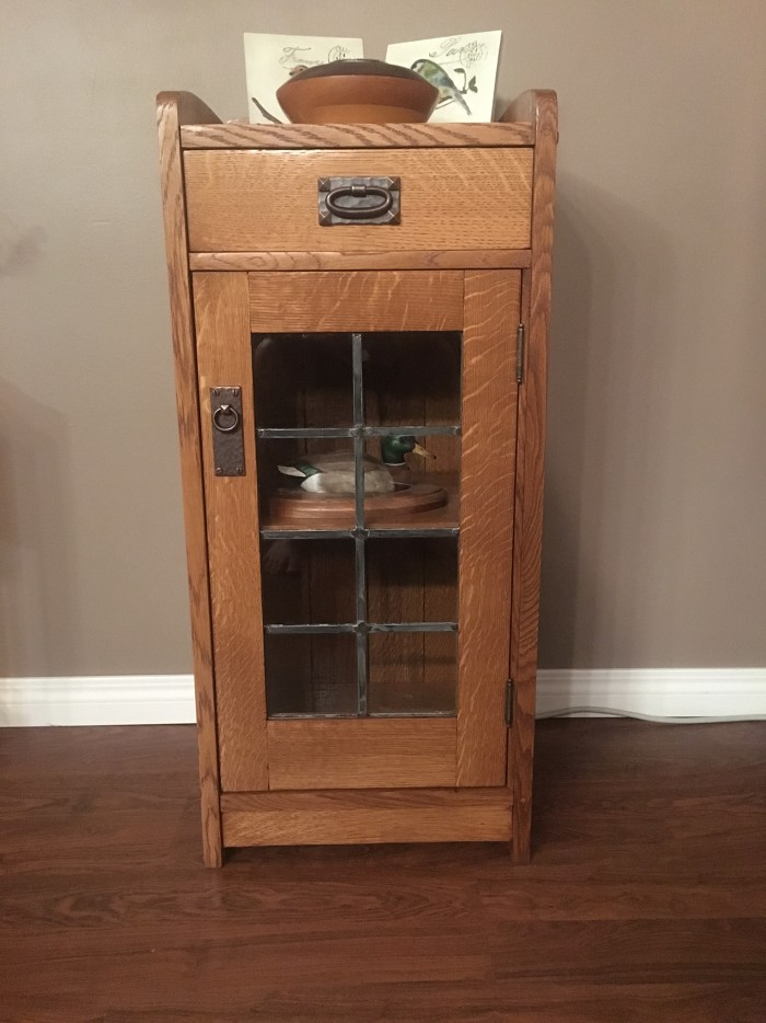 rocking chair fine woodworking tall wingback white arts and crafts glass front cabinet - finewoodworking