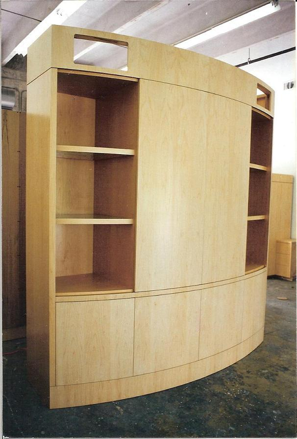 Curved Motorized Maple Wall Unit  FineWoodworking