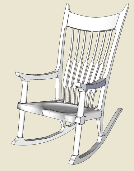 sam maloof rocking chair plans swivel shower with back and arms rocker - roughing into sketchup finewoodworking