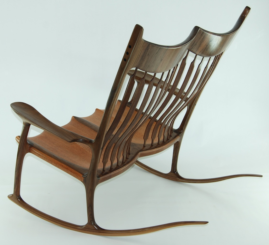 rocking chair fine woodworking raynor ergohuman high back mesh custom double lacewood and walnut
