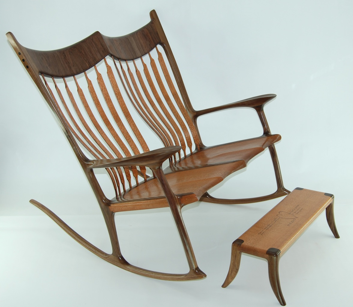 Double Rocking Chair Custom Double Rocking Chair Lacewood And Walnut