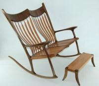 Custom Double Rocking Chair - Lacewood & Walnut ...