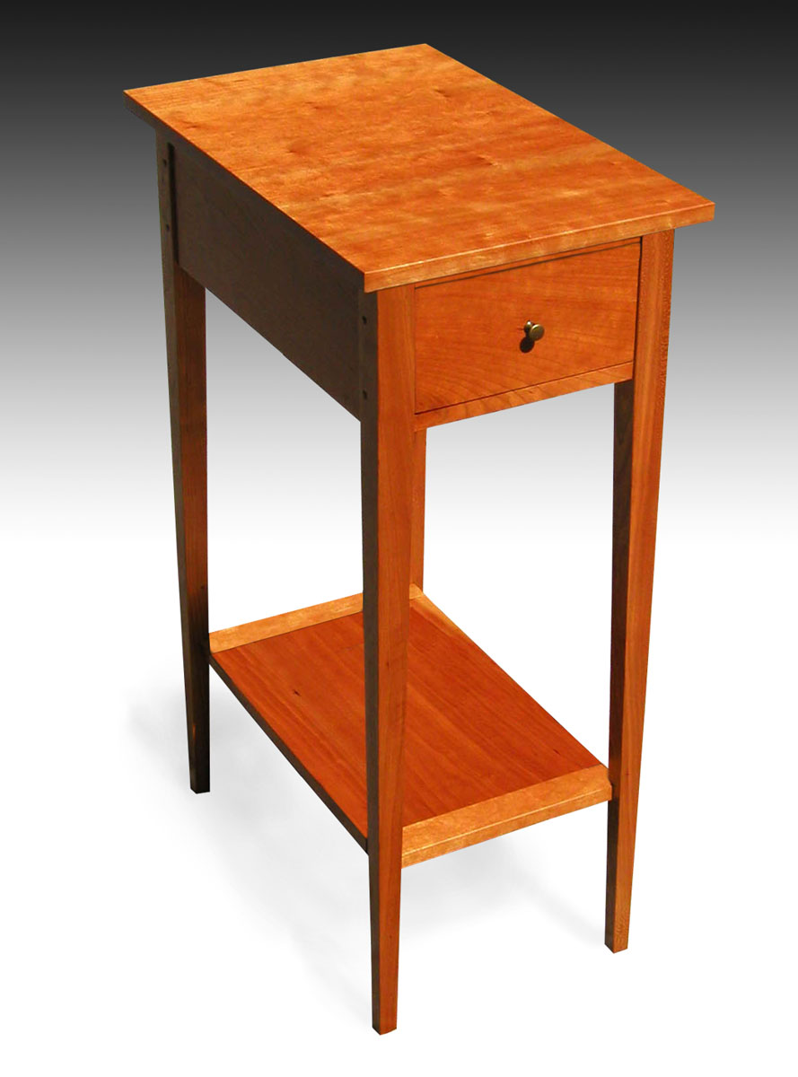 three shaker end tables with shelf